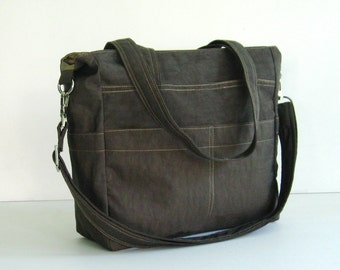 Sale - Chocolate Brown Water-Resistant Bag, purse, tote, shoulder bag, everyday bag, messenger - Tracy
