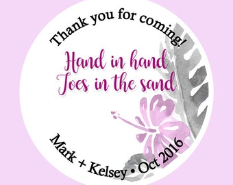 "Custom Beach Wedding Labels- Destination Wedding Decor-Tumbler Labels-Wedding Favor Mason Jar-Waterproof - Choose Colors - 1.5"", 2"" or 2.5"""