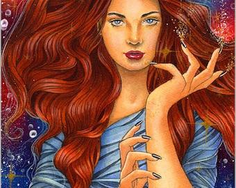 Birth Of Magic - original embellished watercolor painting