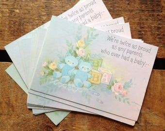 Vintage Twins Birth Announcements - Set of 12 - Vintage Cards, Vintage Baby Cards, Vintage Announcements, Vintage Baby Announcements