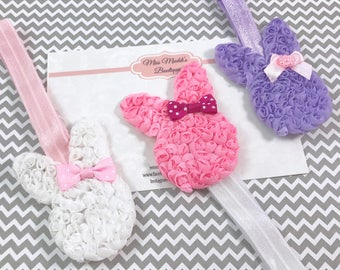 Adjustable bunny shabby headbands Easter - fits baby to adult