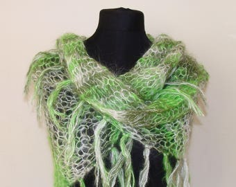 Mohair shawl shades of green and white hand knitted