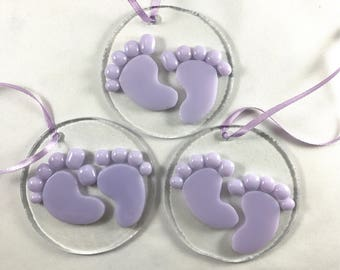 Baby Feet Glass Ornament, Personalized Baby Ornament,Baby Gift, Keepsake Ornament, Christmas Ornament, Baby first ornament, Baby Shower Gift
