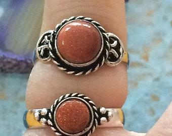Sterling silver Natural GOLDSTONE Ring  Size 5 6 7 8  - Natural Stone Ring - Boho Chic ring - Handmade Ring - Natural GOLDSTONERing