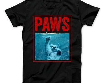 PAWS Funny Cat Kitten T-Shirt For Shark And Cat Lovers Jaws Parody Cat Shirt Cat Gift Cute Kitten Cat shirt Paws Jaws