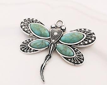 Dragonfly Pendant, Turquoise Dragonfly, Large Dragonfly, Boho Chic Pendant, 60mm x 52mm, SP034