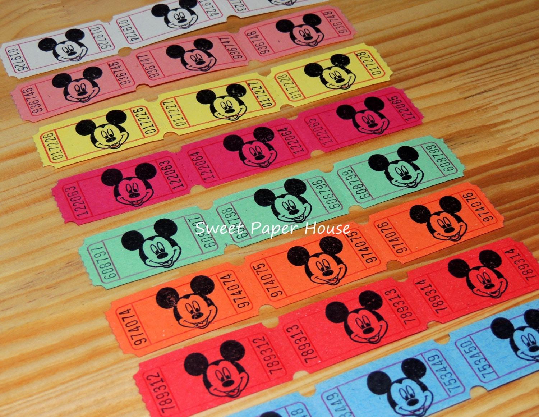 75 Mickey Mouse Carnival Tickets Disney Circus Raffle VIP
