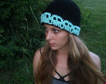 Skull Cap/ Mint/ Skull Beanie/ Winter Hat/ Black and Mint/ Skulls/ Mint Skulls