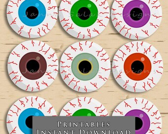 "2"" Bloodshot Eyeball Cupcake Toppers Halloween Eyeballs DIY Printable INSTANT DOWNLOAD"