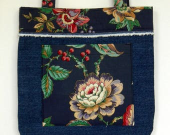 Berries on Denim Tote Bag