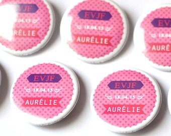 1 badge bachelorette party pins / Souvenir of a smart girl Bachelorette, lace and pink dots