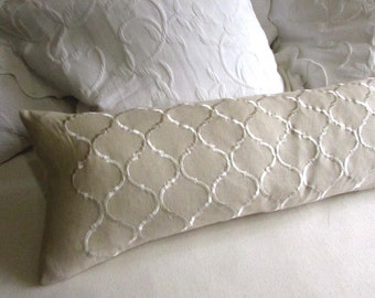 EMBROIDERED LINEN long decorative bolster pillow 12x52 insert included