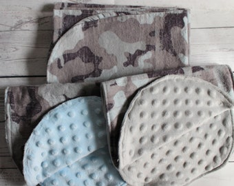 Swaddling Blanket/Burp Cloth-Cotton Flannel,Gray Camo Pattern-Boy Gender-U Pick Pieces