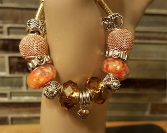Gold and Orange Glass Beaded Heart & Owl Bracelet