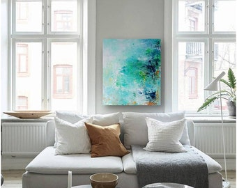 Original small painting, abstract painting on canvas, original gift idea, blue painting