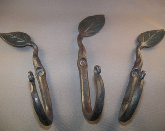 3 Hand Forged Leaf Hooks made by Blacksmith