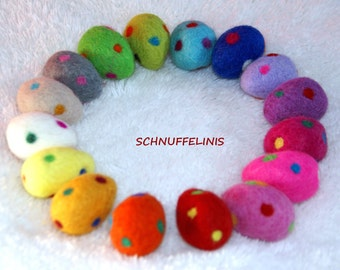 Felted dotted Eggs - FREE shipping second order, Felted eggs - Needle Felt CHOOSE your COLOR -Ready to ship, 100% felt wool