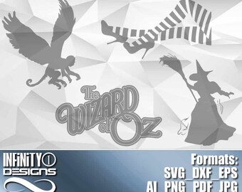 Wizard of Oz Bundle 2 includes Svg, Eps, Png, Ai, DXF; 300dpi Printable, for Cricut, Silhouette, Cameo, etc.