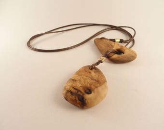 Recycled olive wood necklace, Adjustable olive wood necklace, Two pendants necklace.