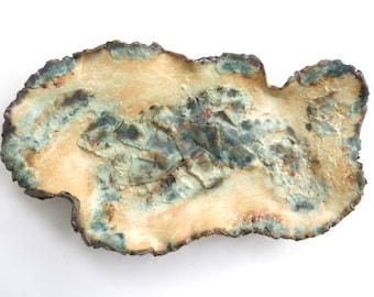 Textured Ceramic Centerpiece Free Form Clay Decorative Dish Earthy Green Showcase Tray Organic Rustic Contemporary Clay Art Tray Fine Art