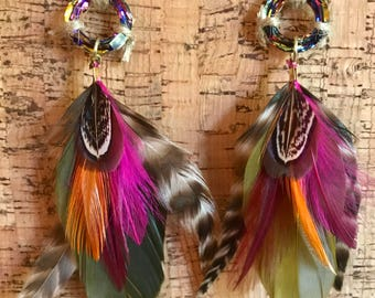 Shaman Earrings - Feather, Crystal, Natural, Unique, Statement, Mangladesh, Rainbow