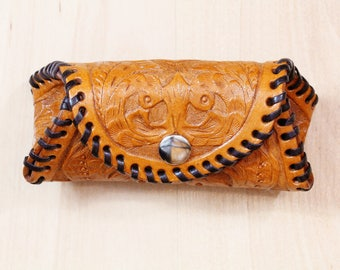 Hand Carved Leather Coin Purse, Unique Leather Purse, Handmade 3rd Anniversary Gift For Wife, Hand Tooled Leather Purse, Gift For Girlfriend