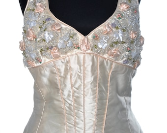 Superb vintage silk corset with beads and flowers