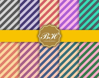 Stripe Digital Paper, Diagonal Stripe Digital Paper, Thick Stripe Backgrounds, Colorful Stripe Patterns, Striped Printable, Stripe Paper