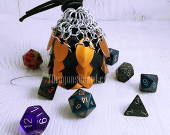 Ready To Ship - Small Black & Orange Scalemaille Dice Bag - In Stock