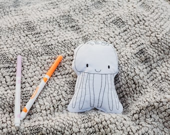 Jellyfish Doll-Coloring Book Activity-Color Your Own Doll-Sea Themed Birthday-Jellyfish-Birthday Party Favor-Gift for Preschooler-Quiet Toy