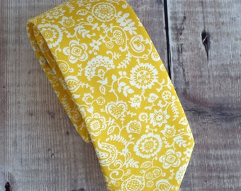 Liberty print tie - yellow floral tie - yellow wedding tie - yellow tie - Liberty tie - Liberty Clare and Emily