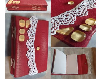 Notebook with leather, leather notebook, handmade, notebook has lace and satin, dragon, medieval, Valentines Day gift idea