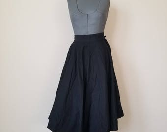 Vintage 1950's Black Rayon Faille Circle Skirt