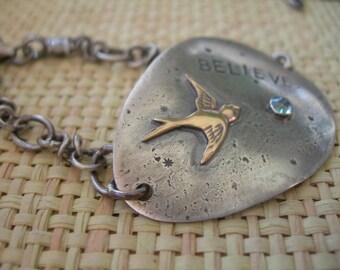 Believe Swallow Recycled Silver Spoon Bracelet Sterling Silver