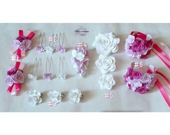 wedding set, roses bracelet, pink roses bracelet, pink bride, pink headband, bridesmaids gift, pink rose pin, rose brooch, white rose pin