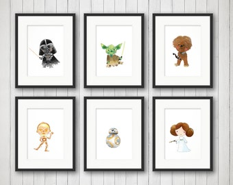 Space Wars Prints - Boy's Room - Girls Room Art - Star Wars Art - Kids Room Decor - Space Wars Nursery Set - Bedroom Art - 4x6, 5x7 or 8x10