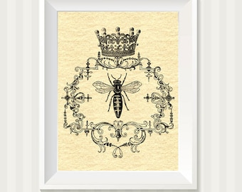 Queen Bee and Crown Silhouette Custom Wall Art Print 8 x 10 Inch