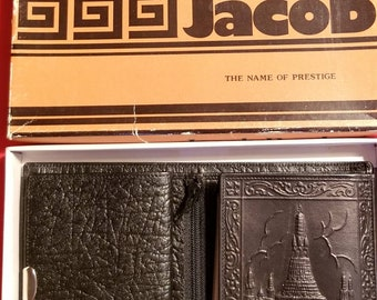 New Unused Vintage Jacob Product Genuine Leather Wallet with scene in box