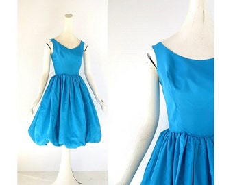 1950s Party Dress | Bubble Skirt Dress | 50s Taffeta Dress | XXS