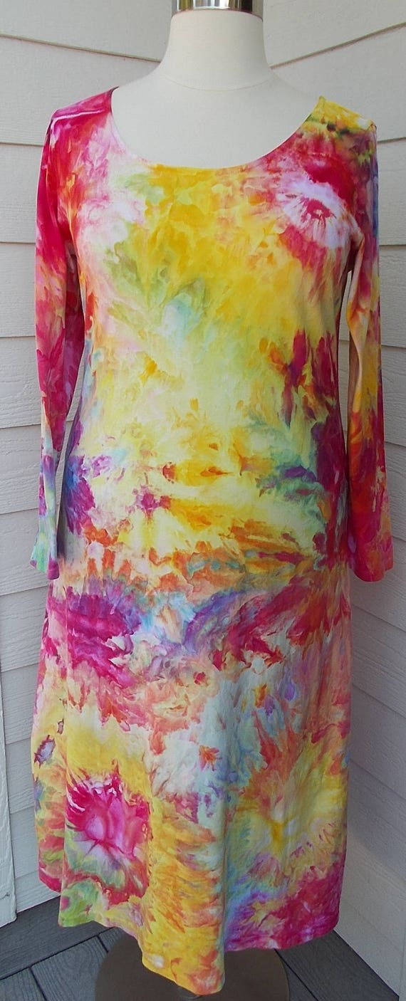 2XL Ice dye tie dye Long Sleeve Cotton Dress