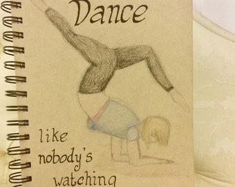 Journal/notebook with hand drawn dancer