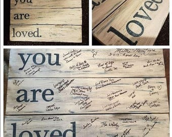 You Are Loved - Wooden Plank Baby Shower Guestbook