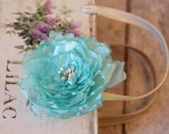 Wedding Flower Fascinator, Mint Hair Accessory, Mint Wedding Headpiece, Mint Bridal Hair Flower, Prom Hair Accessory