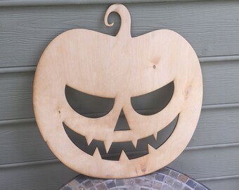 Scary Face Pumpkin Halloween Decor - Small - 5mm Thick Plywood Unfinished