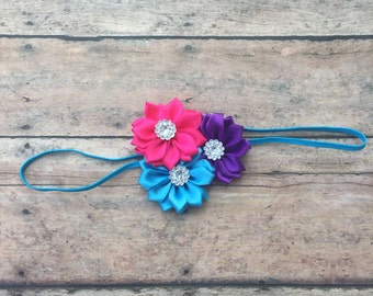 Flower Headband - Turquoise, Pink, and purple Baby Headband - Girl Hair Accessories - Baby Girls Hair Accessories - Baby Headband - headband