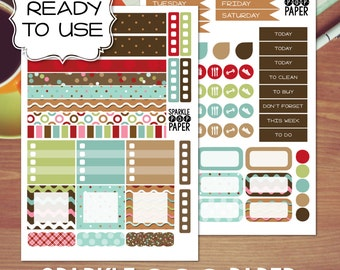 Gingerbread Christmas Weekly Layout Stickers for MAMBI Happy Planner MINI