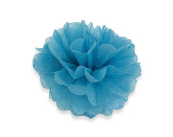 14 Inch Sky Blue Tissue Pom Poms - Paper Party Decor Decoration Supplies