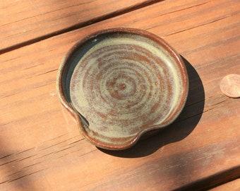 Green Pottery Spoon Rest NC Pottery Farmhouse Kitchen