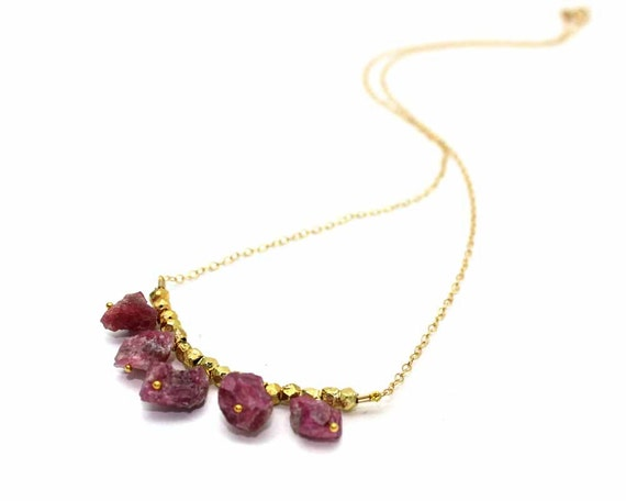 Raw Pink Tourmaline Gemstone Necklace. 5 Rough Pink Tourmaline Nuggets. Gold Fill or Sterling Silver. NS-1925