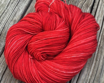 Hand Dyed Sock Yarn Captain Blood Red Hand Painted sockyarn 463 yards hand dyed Crimson Maroon fingering weight Treasured Toes ruby swm